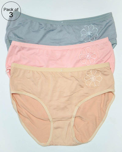 Pack of 3 Womens Cotton Plain Panties – AF-118 – Mix Colors