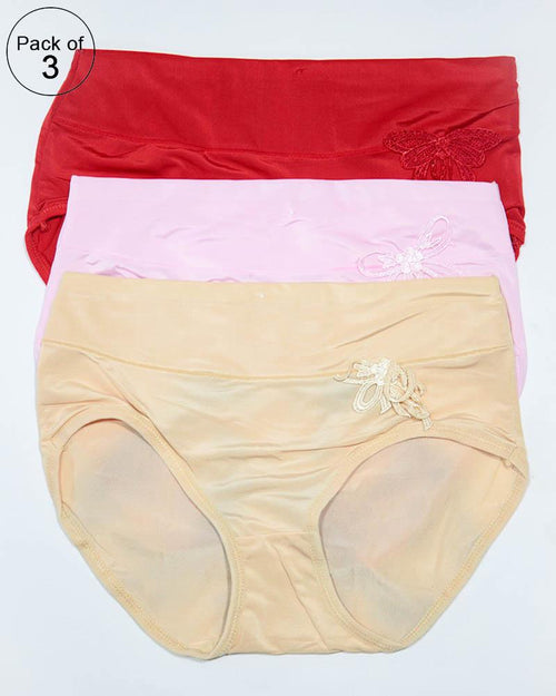 Pack of 3 Womens Silk Plain Panties – AF-119 – Mix Colors