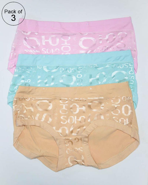 Pack of 3 Womens Fancy Panties – AF-123 – Mix Colors