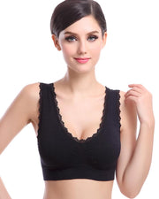 Aire Bra with Lace - Black - Stretchable Non Wired & Single Padded