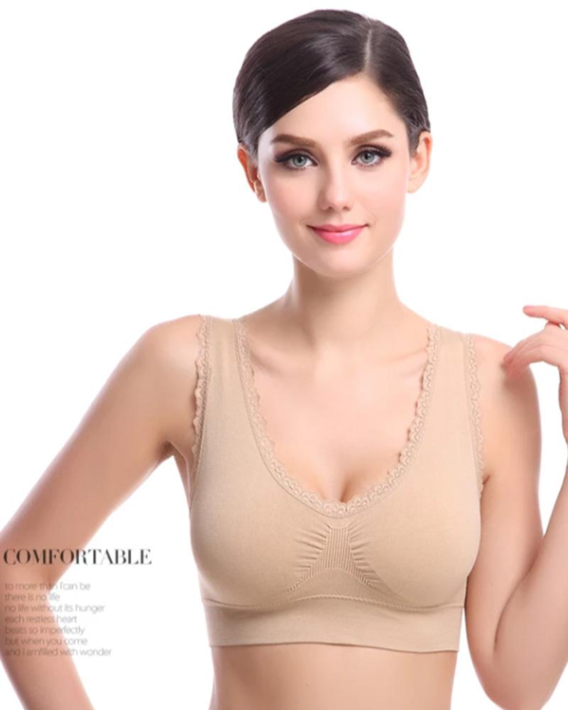 Aire Bra with Lace - Skin - Stretchable Non Wired & Single Padded