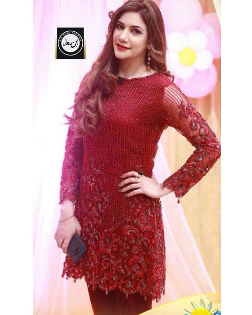 Bin Saad Net Suit With Chiffon Dupatta (Replica)(Unstitched)