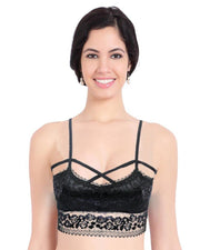Black Net Lace Cotton Push Up Bra 6519
