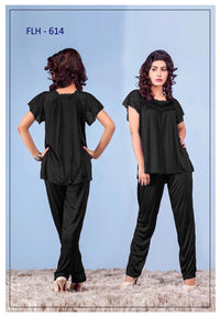 2 Pcs FL-614 - Black Flourish Exclusive Bridal Nighty Set Collection
