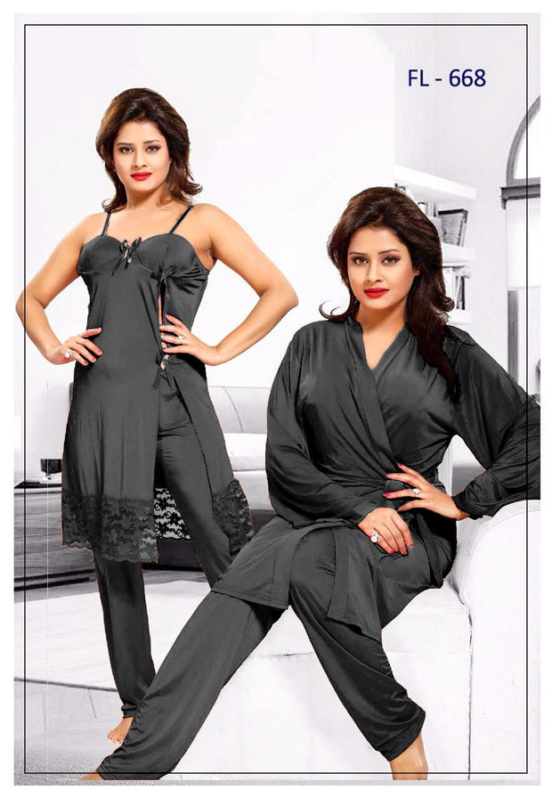 3 Pcs FL-668 - Black Flourish Exclusive Bridal Nighty Set Collection