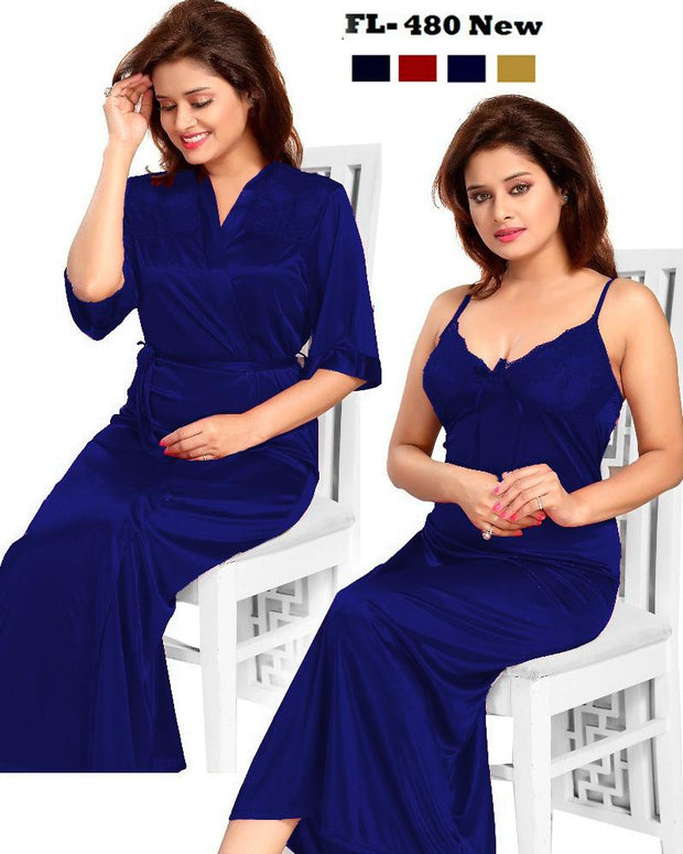 2 Pcs FL-480 - Navy Blue Flourish Exclusive Bridal Nighty Set Collection