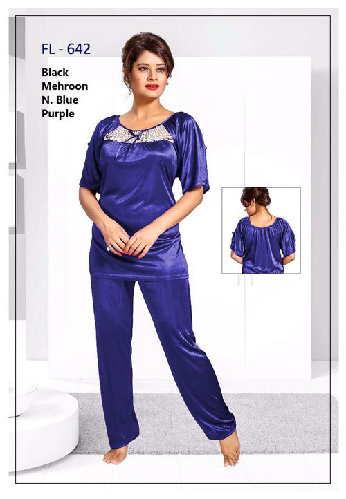 2 Pcs FL-642 - Blue Flourish Exclusive Bridal Nighty Set Collection