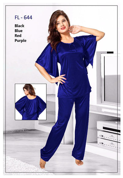 2 Pcs FL-644 - Blue Flourish Exclusive Bridal Nighty Set Collection