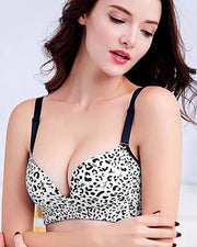 Bridal Cheetah Style Bra - Single Padded Non Wired - BlacknWhite