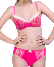 Bridal Pink & White 801623 Single Padded Bra Panty Set - By Senselle