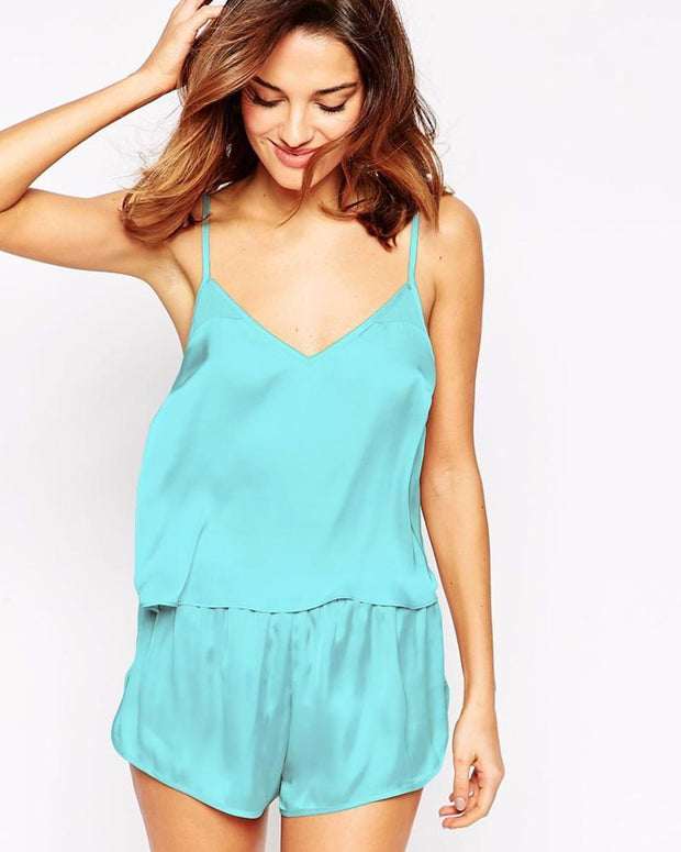 Aqua - Polyester Solid Satin Cami Set with Shorts – CAM 01 AQ - Cami Set - diKHAWA Online Shopping in Pakistan