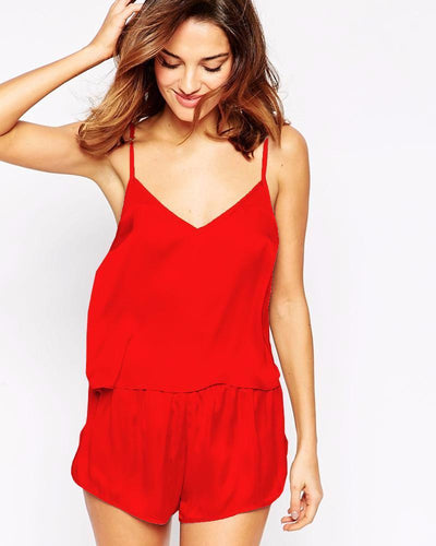 Red Polyester Solid Satin Cami Set with Shorts – CAM 01 RD - Cami Set - diKHAWA Online Shopping in Pakistan