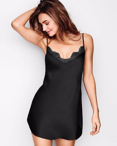 d28a452604 Black Polyester Satin Chemise Nighty with Lace - CHE-02-BK - Nighty -