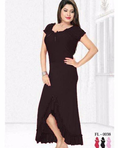 Black Nighty - FL-0038 - Flourish Nightwear - Nighty - diKHAWA Online Shopping in Pakistan