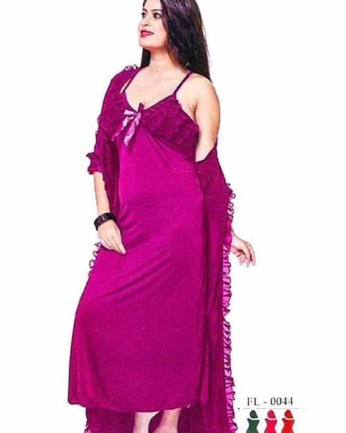 Pink - FL-0044 - Flourish Nightwear - Nighty - diKHAWA Online Shopping in Pakistan