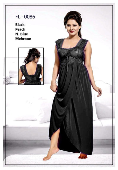 Black Stylish FL-0086 - Flourish Exclusive Bridal Nighty Set Collection