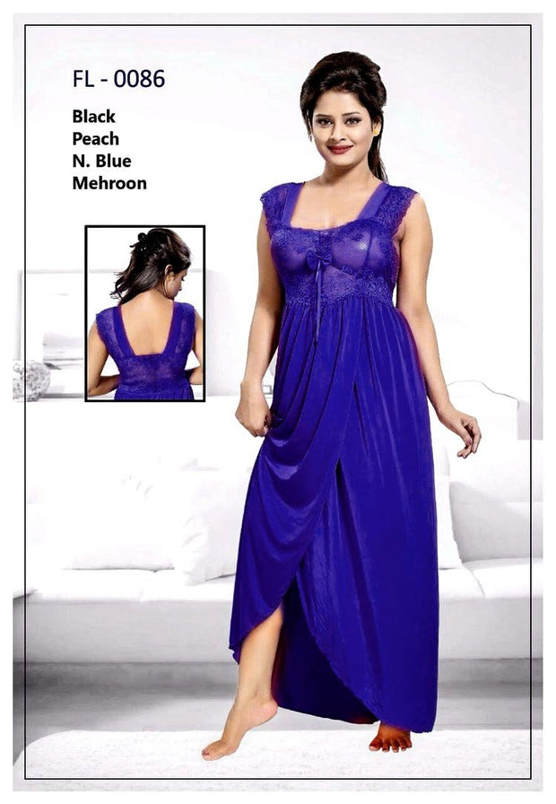 Blue Stylish FL-0086 - Flourish Exclusive Bridal Nighty Set Collection