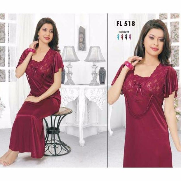 Flourish Silk Nightwear For Women- FL-518 - Nighty - diKHAWA Online Shopping in Pakistan
