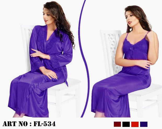 Purple Nighty - FL-534 - Flourish 2 Piece Nightwear - Nighty - diKHAWA Online Shopping in Pakistan
