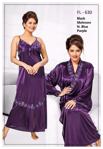 2 Pcs Purple FL-630 - Flourish Exclusive Bridal Nighty Set Collection