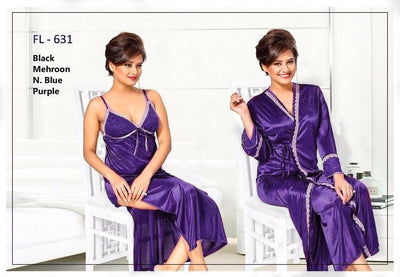 2 Pcs Purple FL-631 - Flourish Exclusive Bridal Nighty Set Collection
