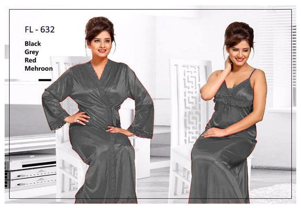 2 Pcs Grey FL-632 - Flourish Exclusive Bridal Nighty Set Collection