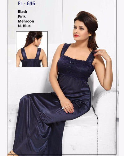 Navy Blue Stylish FL-646 - Flourish Exclusive Bridal Nighty Collection