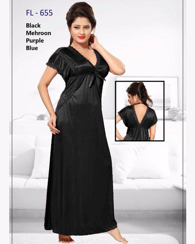 Black Stylish FL-655 - Flourish Exclusive Bridal Nighty Collection