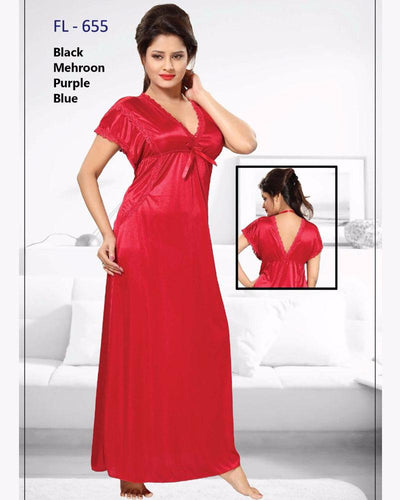 Maroon Stylish FL-655 - Flourish Exclusive Bridal Nighty Collection