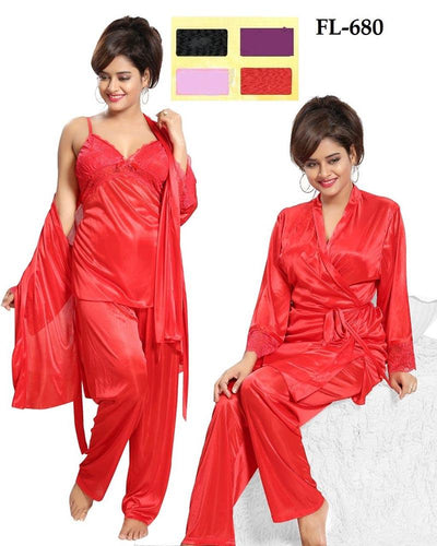 3 Pcs Nighty FL-680 - Flourish Exclusive Bridal Nighties