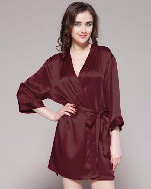 Brown - 100% Polyester Satin Gown - GWN 11 BRW - Ladies Gown - diKHAWA Online Shopping in Pakistan