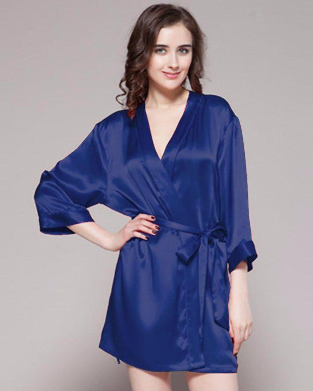 Navy Blue - 100% Polyester Satin Gown - GWN 11 NV - Ladies Gown - diKHAWA Online Shopping in Pakistan
