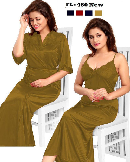 2 Pcs FL-480 - Golden Flourish Exclusive Bridal Nighty Set Collection