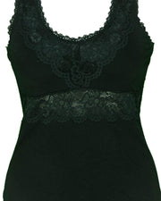 Premium Embroidered Camisole Padded With Lace - Black Color - 8783