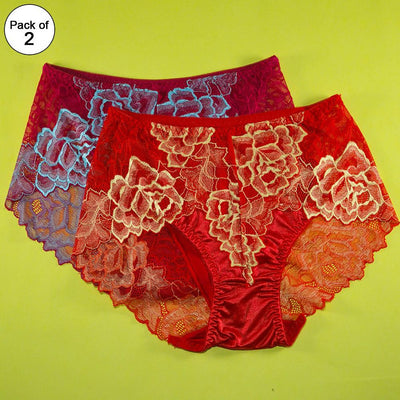 Pack of 2 - Silk Net Panty Floral Print Soft Cotton - Flourish Mix Colors Floral Print Soft Cotton Silk Net Panty - 2358