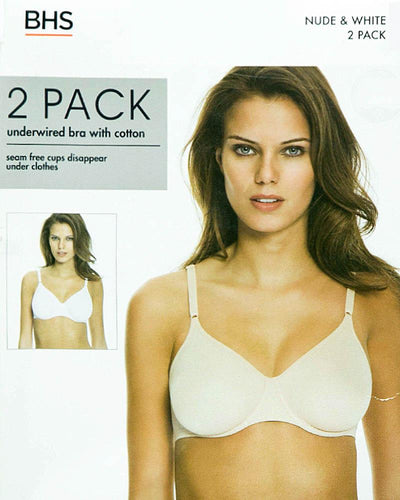 BHS Pack of 2 Underwired Bra With Cotton - 230283 - Non Padded Bra
