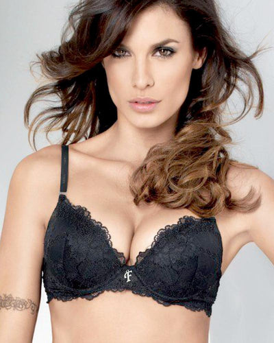 Black Net Embroidered Flourish Bra - Single Padded Underwired Bra - FL3264