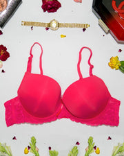 Women Double Padded Underwire Bra - Red - 3005