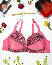 Sexy Cheetah Print Plus Size Bra - Pink Push Up Bra, Single Padded Bra