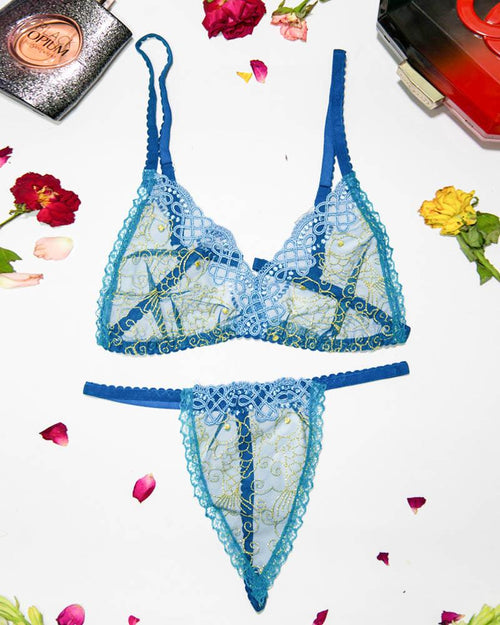 Women Embroidered Lace Bra Panty Set - Sexy Lingerie Set - MT-108