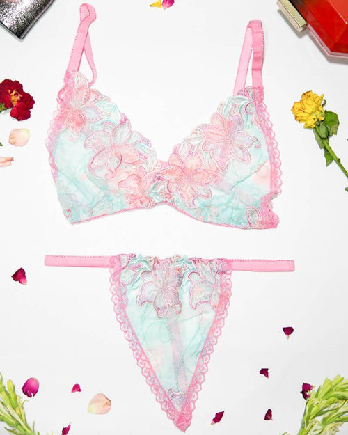 Women Embroidered Lace Bra Panty Set - Sexy Lingerie Set - MT-114