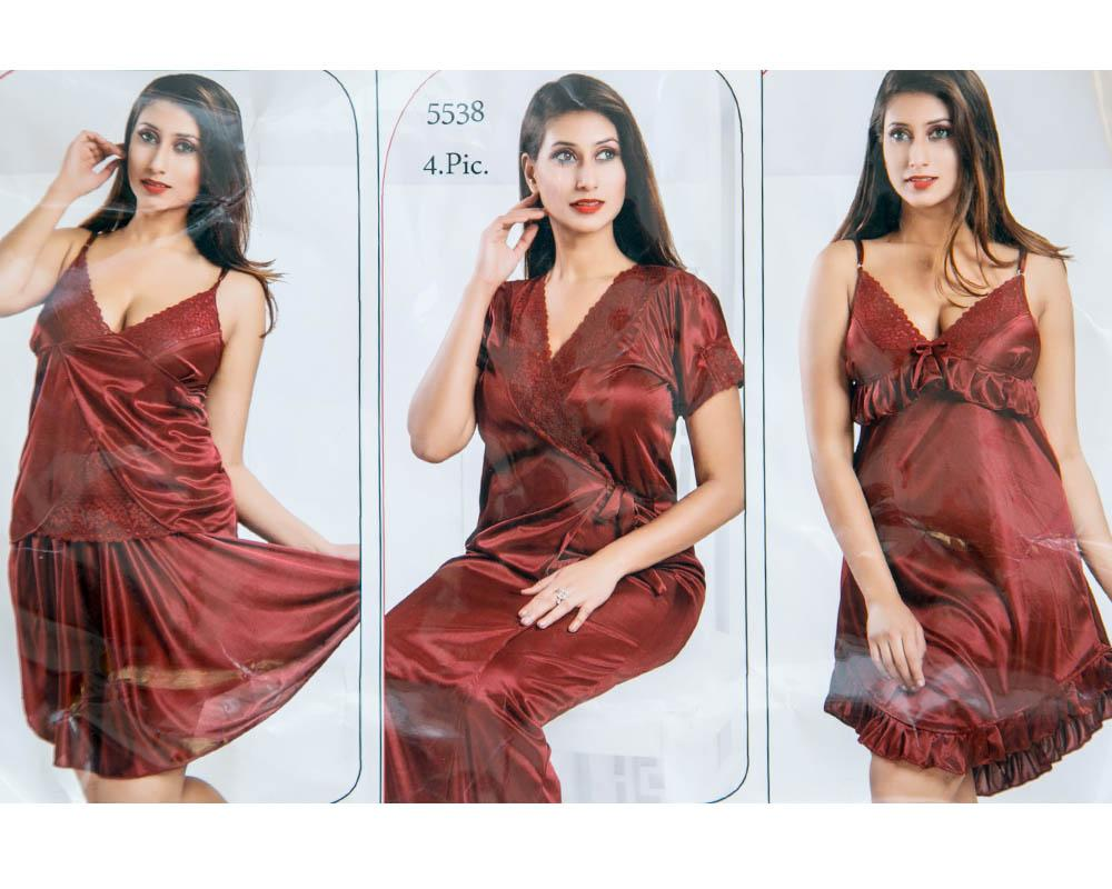 4 Pcs Wedding Nighty Set with Gown - 5538 - Silk Nighty By Soft Touch