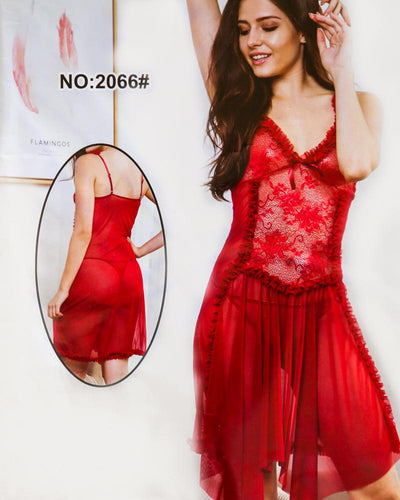 Bridal Sexy Hot Fur Cotton Net Short Nighty For Women - 2066#
