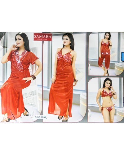 Red Samara Bridal Nighty Set - 6 Pcs Set 621B
