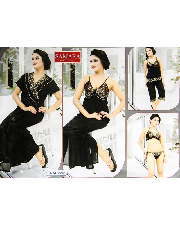 Black Samara Bridal Nighty Set - 6 Pcs Set 621A