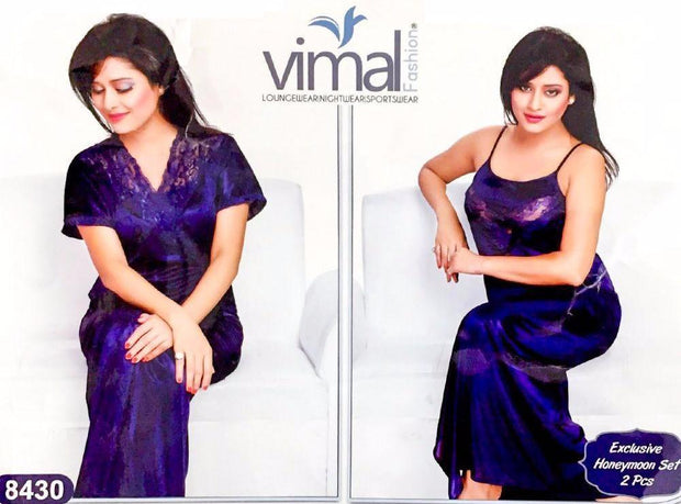 2 Pcs Honeymoon Nighty Set - V8430 - Satin Silk Nighty by Vimal Fashion - Nighty Sets - diKHAWA Online Shopping in Pakistan
