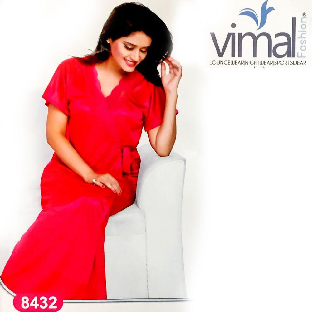 2 Pcs Princess Nighty Set with Gown - V8432 - Satin Silk Nighty by Vimal Fashion - Nighty Sets - diKHAWA Online Shopping in Pakistan
