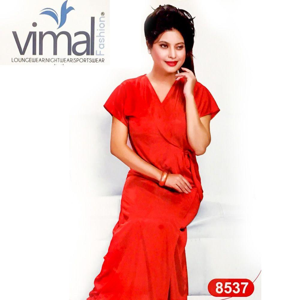 2 Pcs Red Queen Nighty Set with Gown - V8537 - Satin Silk Nighty by Vimal Fashion - Nighty Sets - diKHAWA Online Shopping in Pakistan