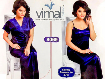 2 Pcs Royal Blue Nighty Set with Gown - V8069 - Satin Silk Nighty by Vimal Fashion - Nighty Sets - diKHAWA Online Shopping in Pakistan