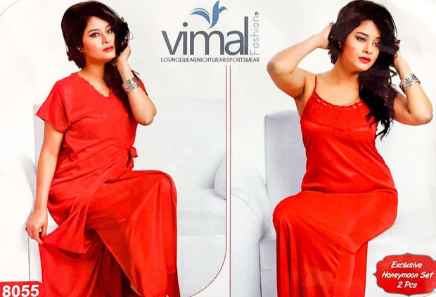 2 Pcs Wedding Nighty Set with Gown - V8055 - Satin Silk Nighty by Vimal Fashion - Nighty Sets - diKHAWA Online Shopping in Pakistan